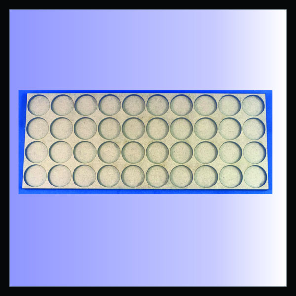 Square movement tray for 25mm rounds with 4 ranks of 10