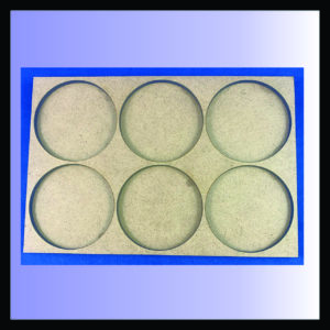 Square movement tray for 50mm rounds with 2 ranks of 3 bases