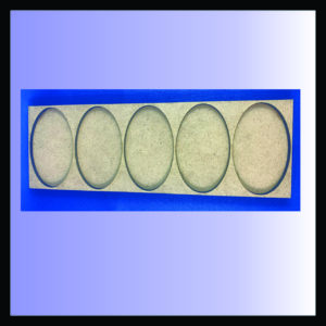 Square movement tray for 60mm x 35mm oval bases, 1 rank of 5