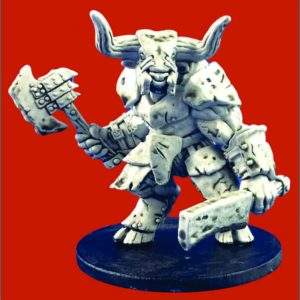 Armored Minotaur with 2 hand weapons