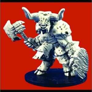 Armored Minotaur with axe and shield